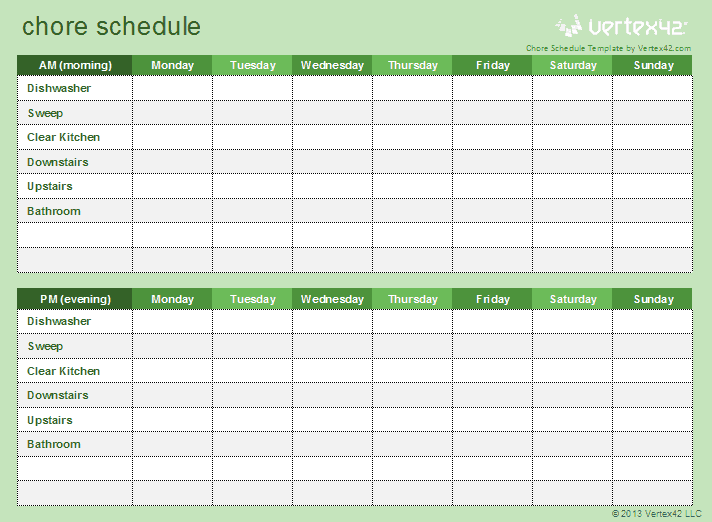 Kids Chore Schedule Template – Chore List Template