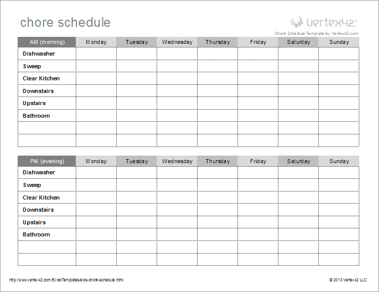 Kids chore schedule template for House chores checklist template