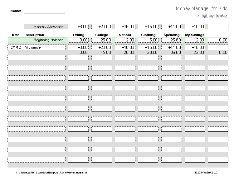Money Management Worksheet for Kids