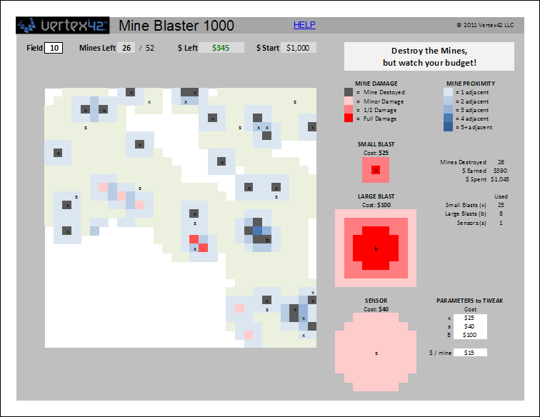 Mine Blaster 1000 - Using Conditional Formatting