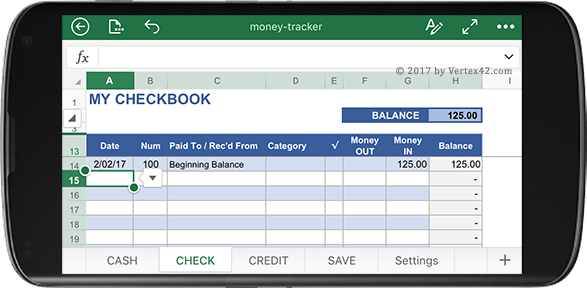 Money Tracker Spreadsheet for Excel on Your Phone