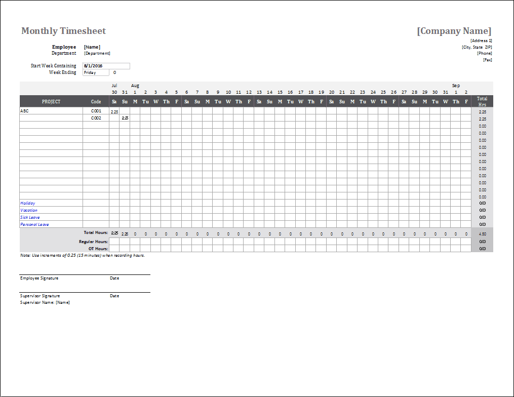 Monthly Timesheet Template for Excel – Sample Blank Timesheet