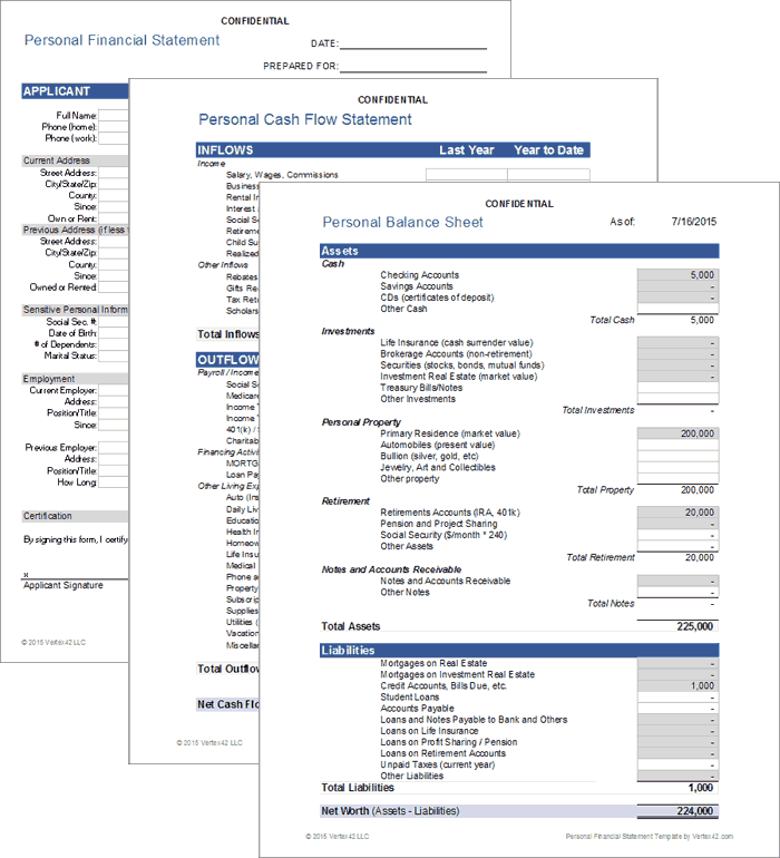 Personal Financial Statement for Excel – Assets and Liabilities Worksheet