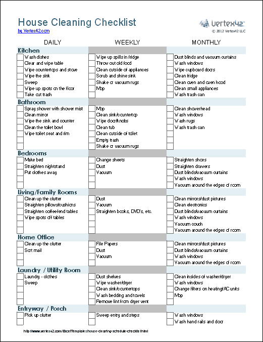 House Cleaning Checklist Template (.xlsx - Excel 2007+, Excel for iPad ...