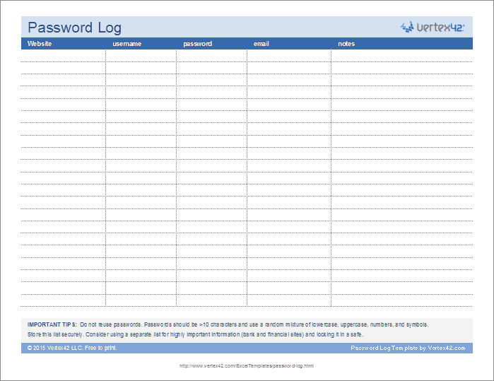picture relating to Password List Printable identified as Pword Log Template