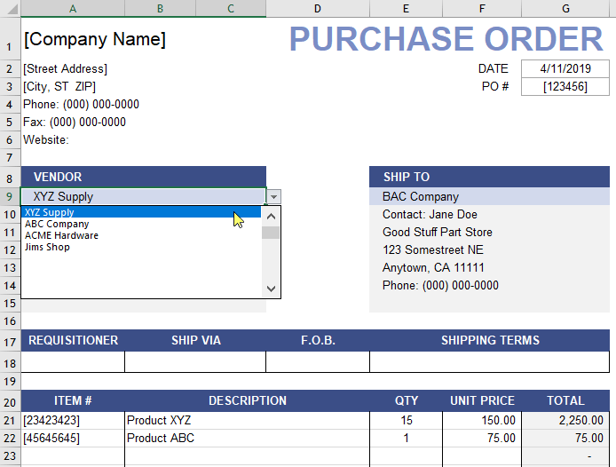 Purchase Order Template with Vendor List