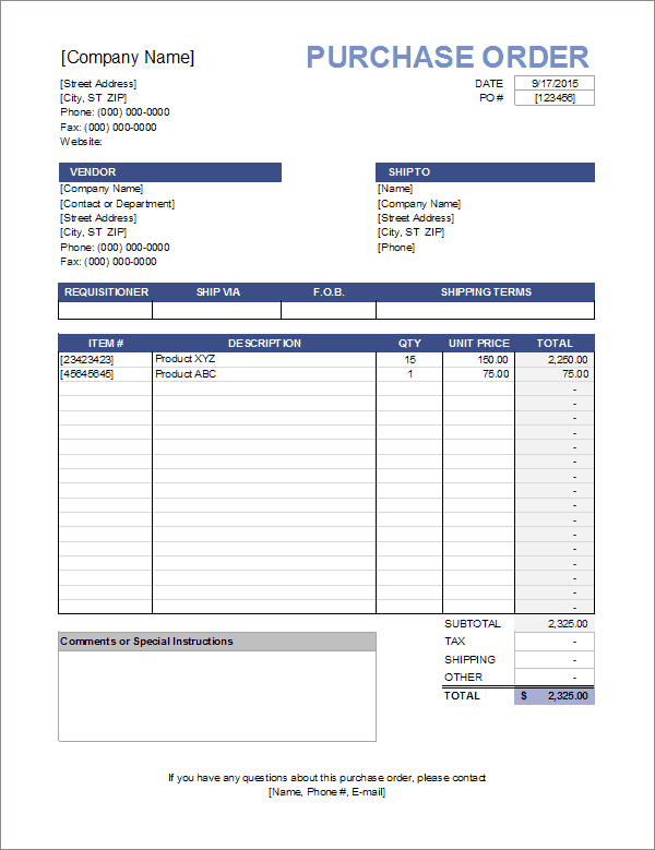 template for purchase order form  Purchase Order Template