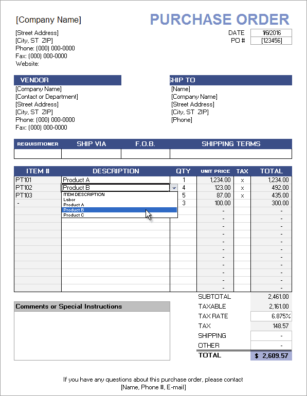 free purchase order template with price list