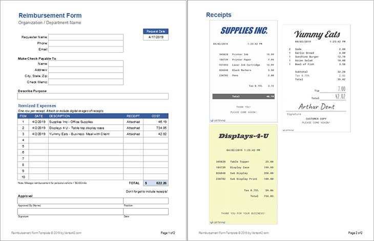 Free Expense Reimbursement Form Templates