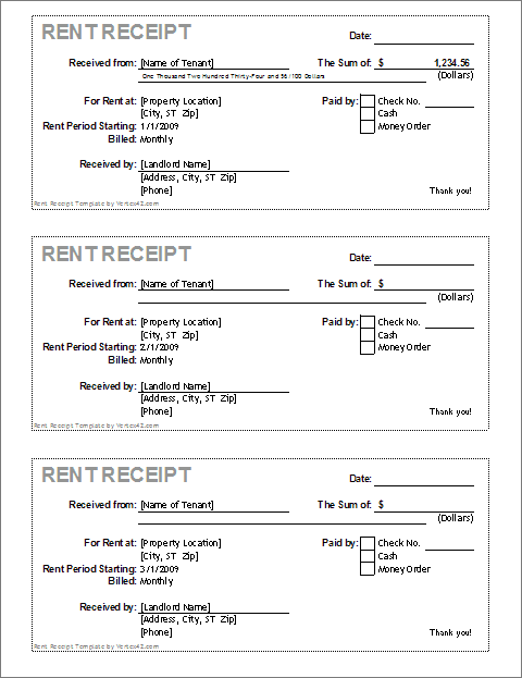 Rent Receipt Template for Excel – Rental Receipts Templates