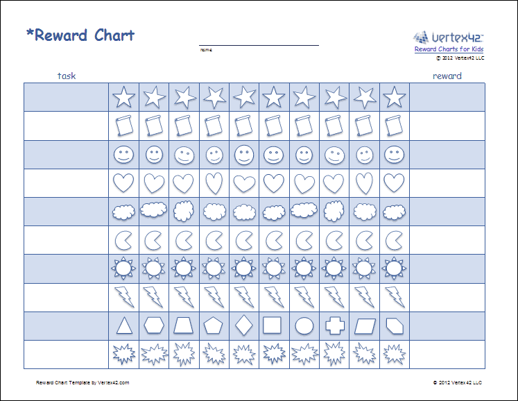 Printable Reward Charts for Kids Reward Chart Template – Incentive Chart Template