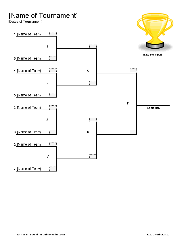 Tournament bracket templates for excel 2018 march for Knockout draw sheet template