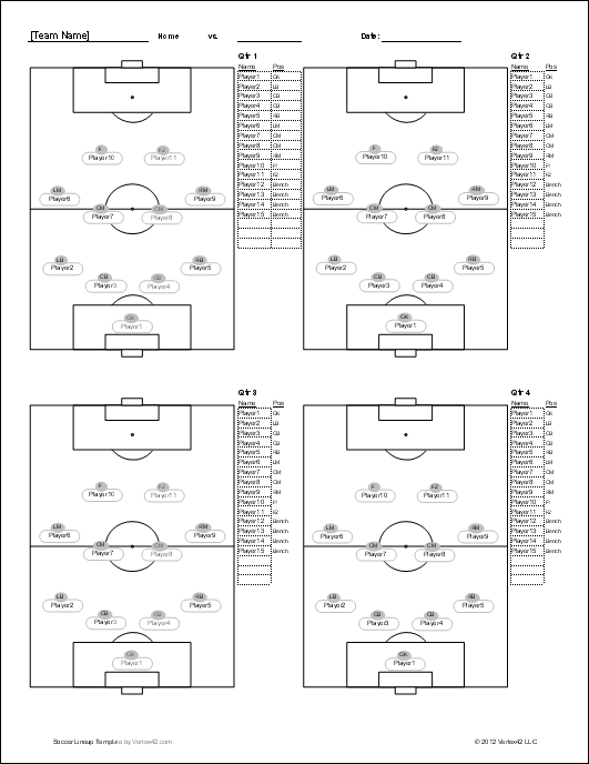 soccer roster template for excelsoccer lineup screenshot