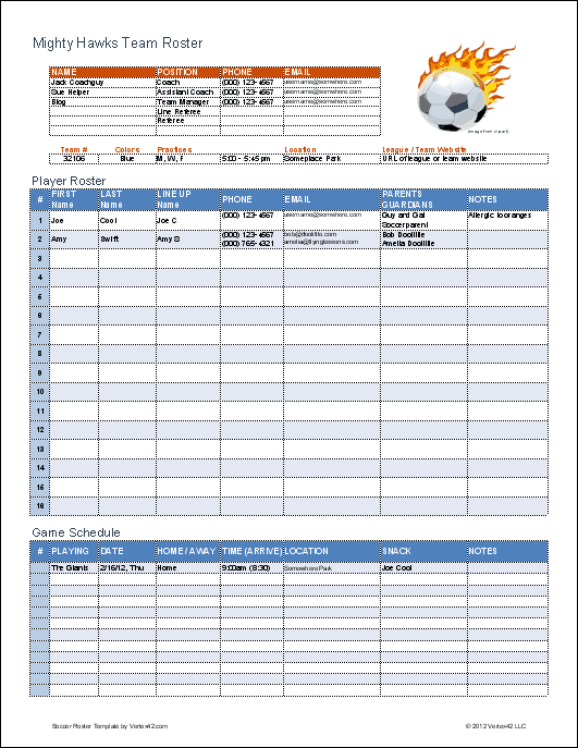 Soccer roster template for excel for Sports team roster template