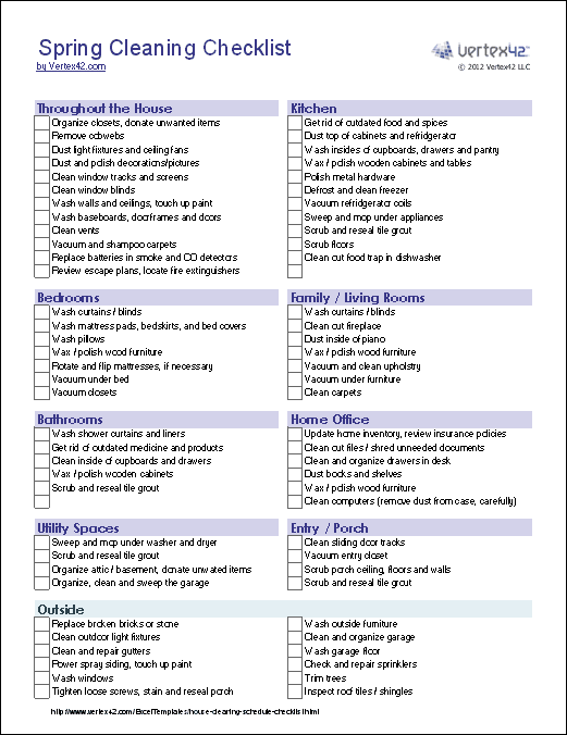 picture relating to House Cleaning Checklist Printable identified as Spring Cleansing Listing Template