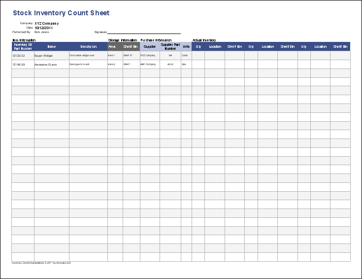 Inventory Control Template - Stock Inventory Control Spreadsheet