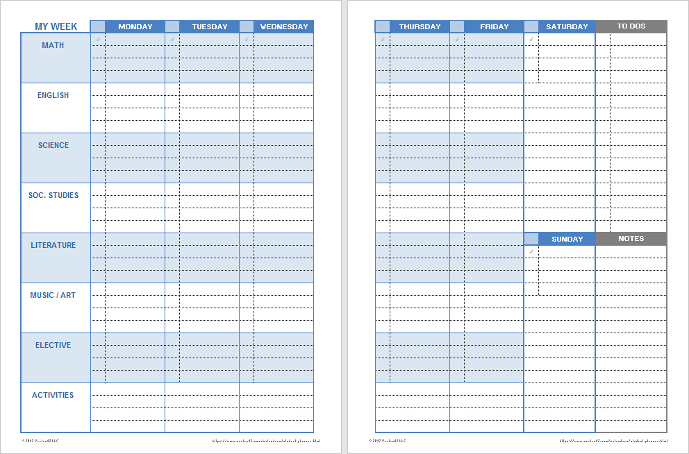 Weekly Student Planner (by Weekday)