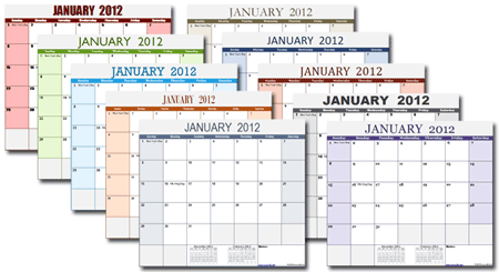 Vertex42's new theme-enabled calendar templates for Excel 2007/2010