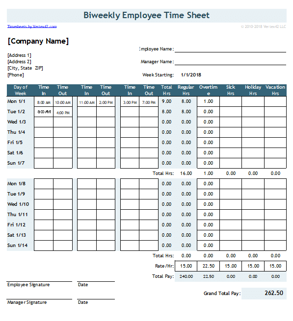 Time Sheet Template With 2 Breaks