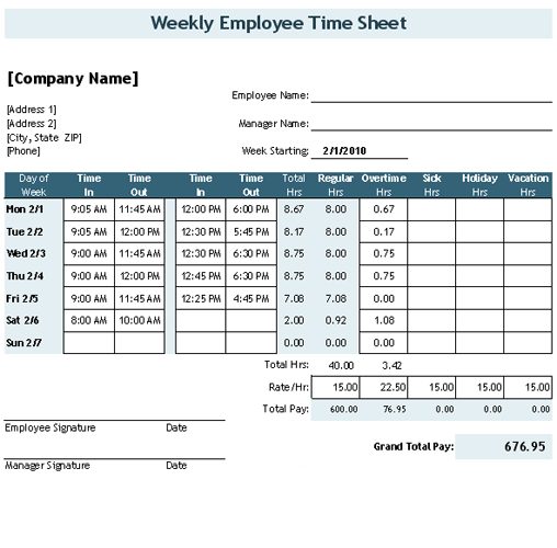 Time Sheet with Breaks