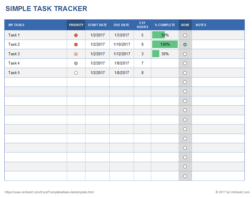 Screenshot of the Task Tracker Template in Excel