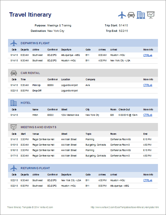 Business travel itinerary template friedricerecipe Gallery