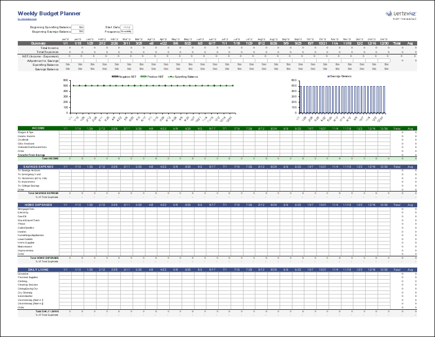 Printables Weekly Budget Worksheet Printable weekly budget planner and money manager screenshot