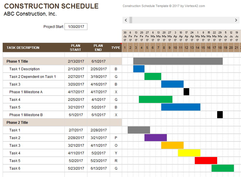 project schedule template xls construction schedule template