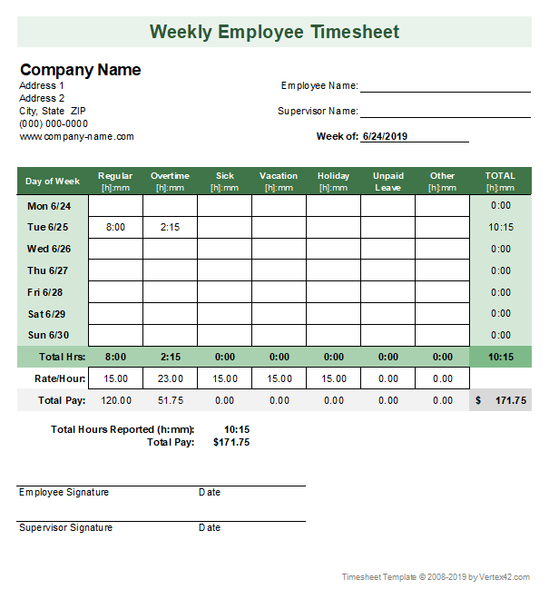photograph regarding Free Printable Timesheets titled Timesheet Template - Free of charge Straightforward Period Sheet for Excel