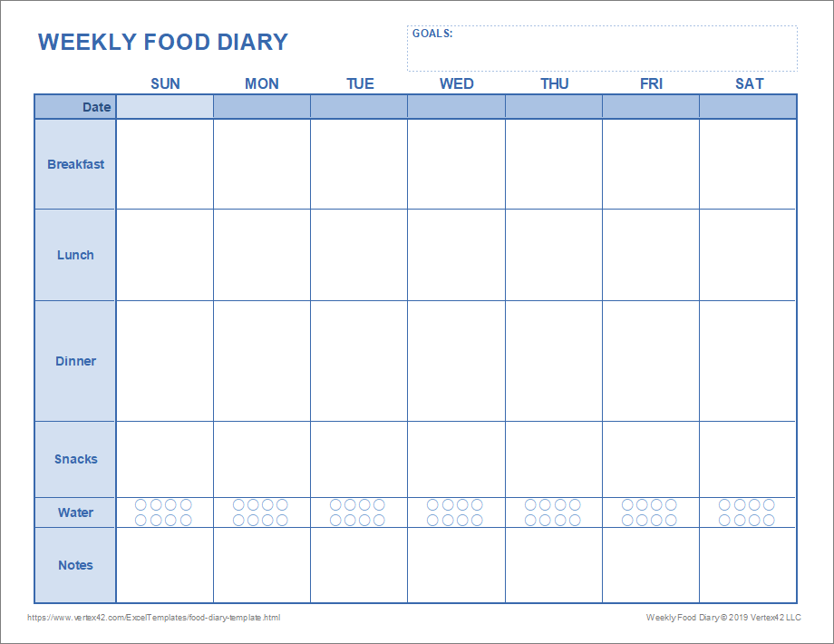photograph relating to Printable Weekly Food Journal identify Meals Diary Template Printable Foodstuff Magazine