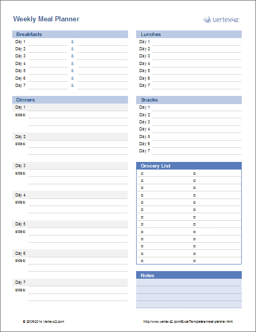 graphic relating to Weekly Plans Template known as Evening meal Planner Template - Weekly Menu Planner