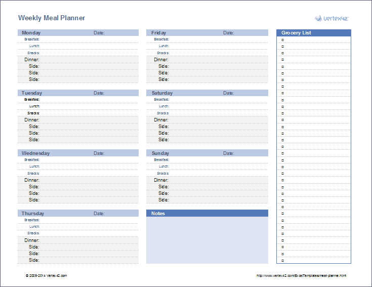 Download  Free Menu Planner Template