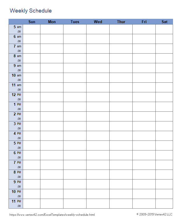 Weekly Schedule Templates For Excel And PDF