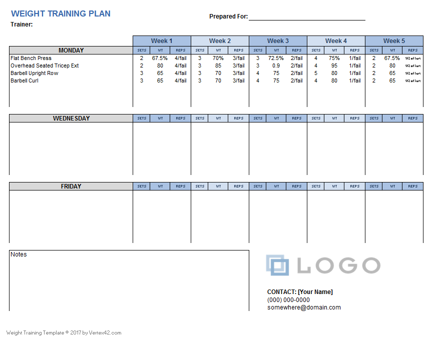 Health Charts and Logs – Workout Char Template