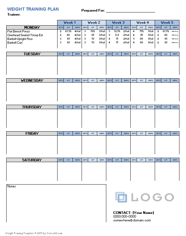Weight training plan template for excel for Personal training program template