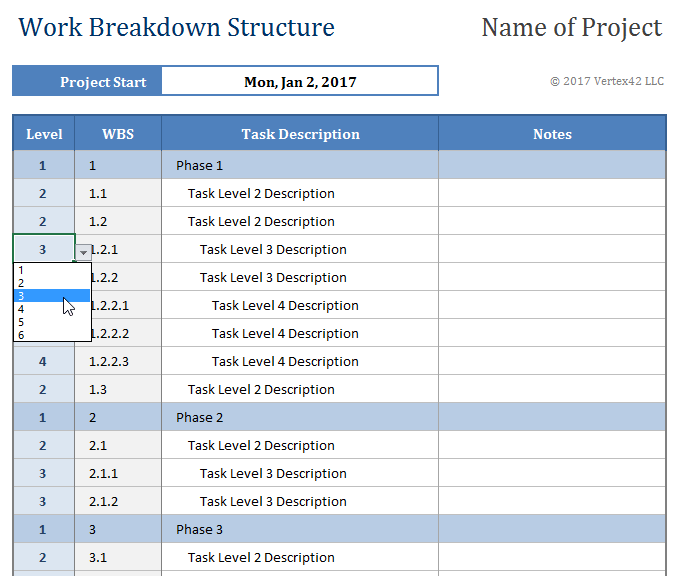 Work breakdown structure template for Product breakdown structure excel template