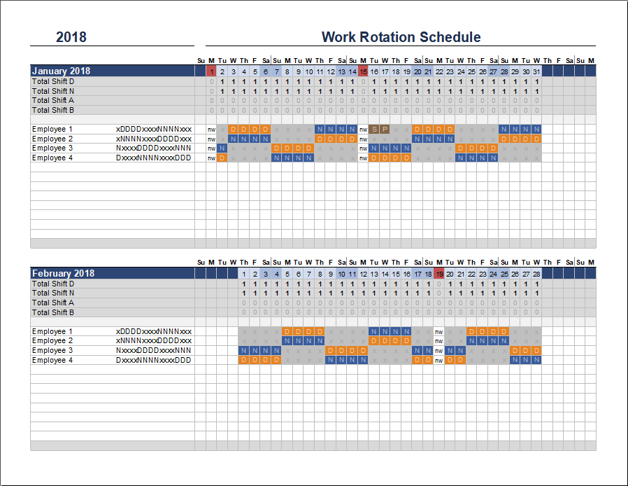 Free rotation schedule template for Multiple employee schedule template
