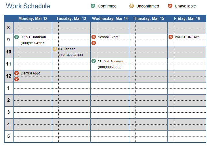 work schedule template for excel