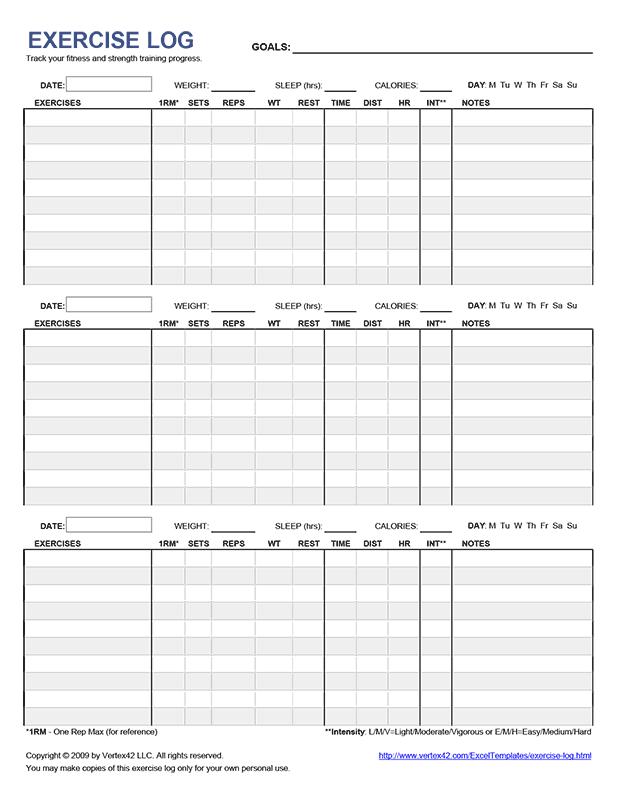 Exercise Log (3 Days)