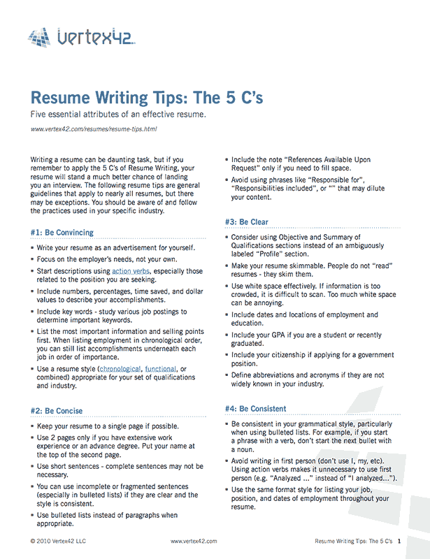 tips resume - Tips On Writing Resume