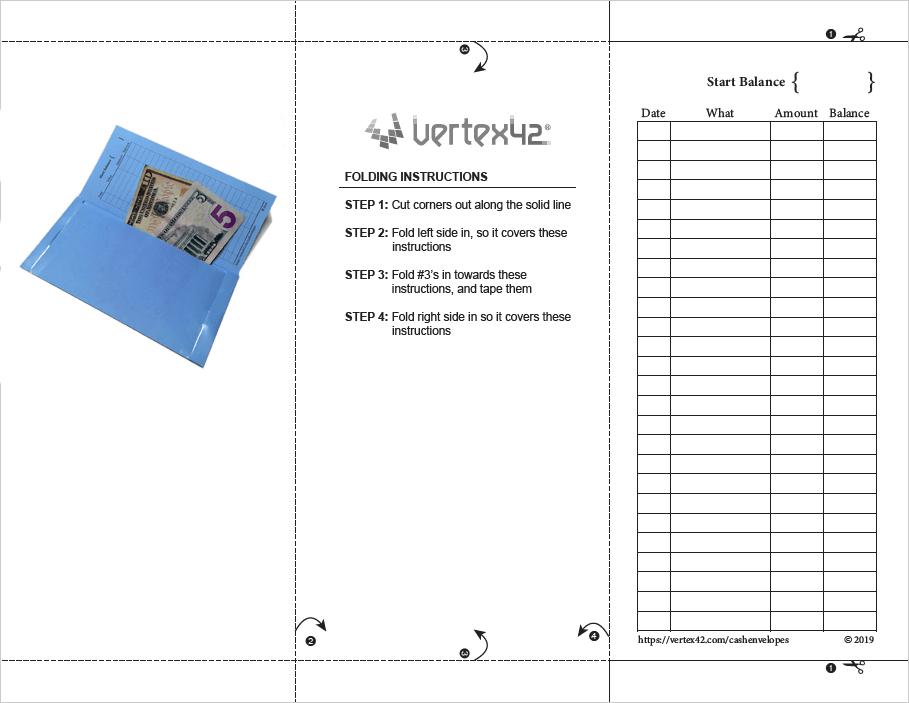 Printable Cash Envelope Template (Horizontal)