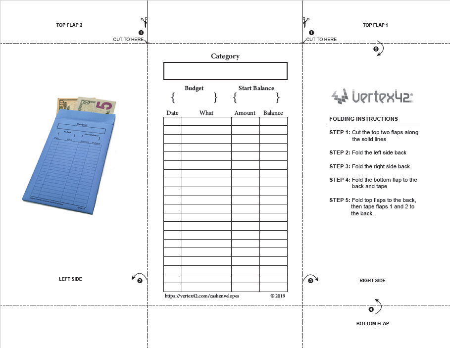 Printable Cash Envelope Template (Vertical)