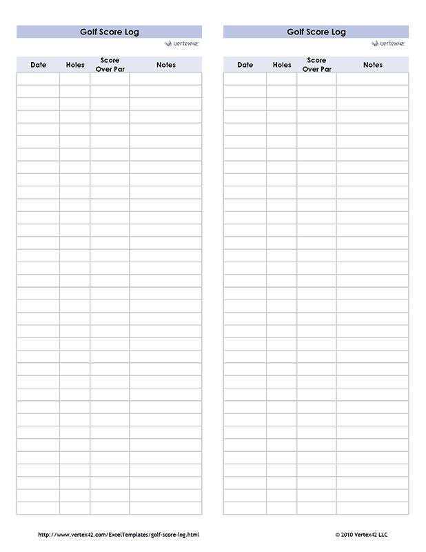 Golf Score Log