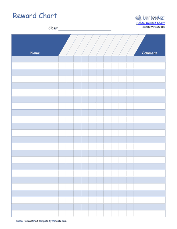 School Behavior Reward Chart