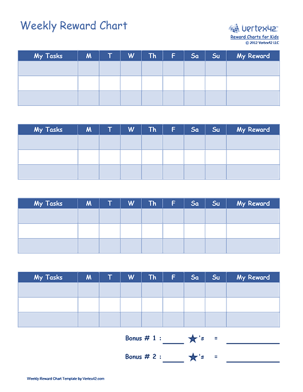 Weekly Reward Chart for Children