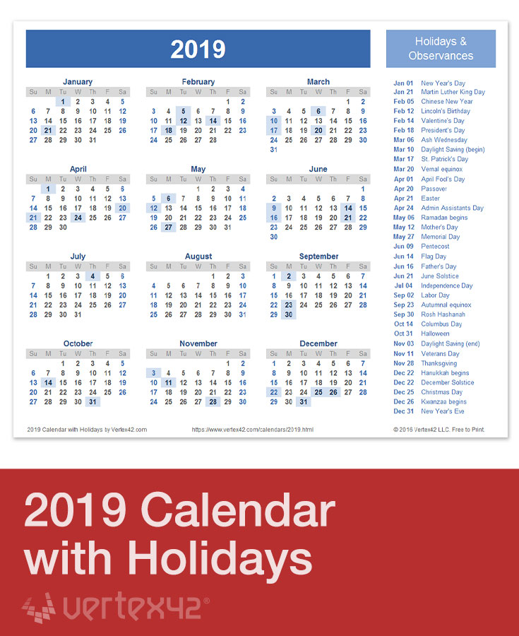 Printable 2019 Holiday Calendar
