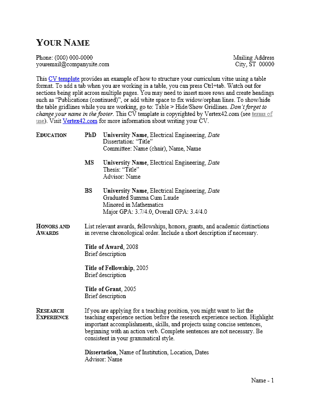 CV Template (Table Format)