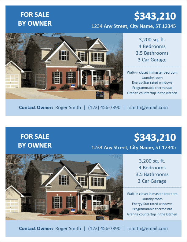 Charming FSBO Flyer Template   2 Per Page On Home For Sale Brochure