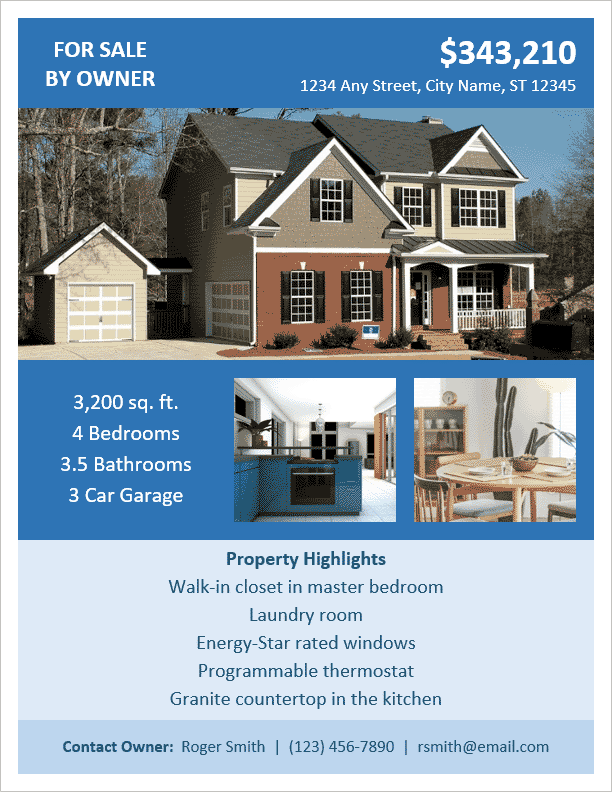 Nice FSBO Flyer Template For Home For Sale Brochure