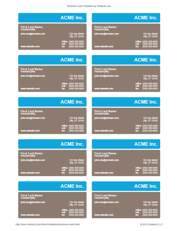 Business Card Template (Design 10-C)